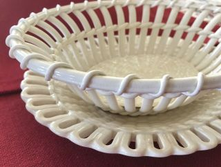 Antique Ivory Wedgwood Creamware Twig Fruit Basket Bowl With Plate Stand