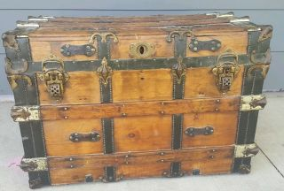 Rare Antique Vintage Oak Wood Leather 1800s 19th Century Restored Steamer Trunk