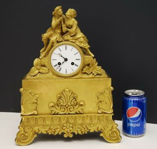 19th C Antique French Empire Figural Bronze Ormolu Mantle Clock W Loving Couple