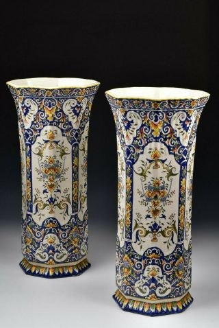 Monumental French Faience Polychrome Painted Enamel Vases