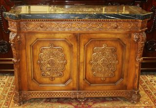Gorgeous Carved Walnut French Black Marble Top Buffet Sideboard Commode Server