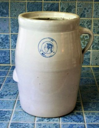 Antique Rare Louisville Pottery Co Indian Head 2 Gal Stoneware Crock Churn
