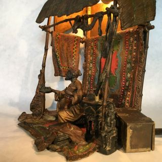 Franz Bergman - Austrian 1838 - 1894 bronze painted lamp with Antiquities Merchant 2