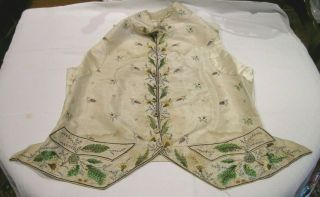 18thc Hand Embroidered Ivory Silk Waistcoat A/f