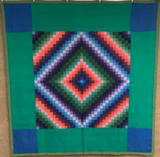Amish Art C 1930s Sunshine Shadow Quilt Vintage Green Border Lancaster Co