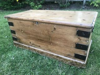 Victorian Pine Bedding Box Wooden Storage Box Chest