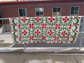 Antique Pre Civil War Green & Red Floral Applique Quilt