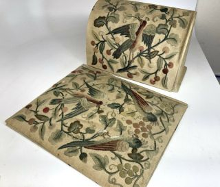 19th Century Stumpwork Embroidery Writing Pad & Letter Box - Royal School