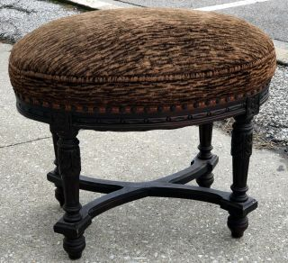 "Antique 1920 Arts & Crafts Period 23 "" Floral Carved Wood Footstool Stool Ottoman"