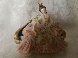Vintage Dresden Lace Figurine On Settee In Pink Perfect