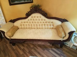 Victorian Antique Sofa And Settee Golden Color All Hand Carved Wood