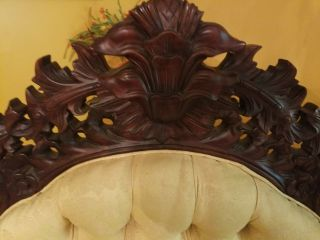 Victorian antique sofa and settee golden color all hand carved wood 3