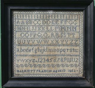 Antique Needlework Sampler By Harriett Francis Aged 13 1862