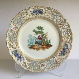Scarce Herend Porcelain Hand Painted Exotic Birds Reticulated Plate 19th Century