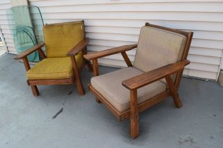 A Brandt Ranch Oak Lounge Chairs