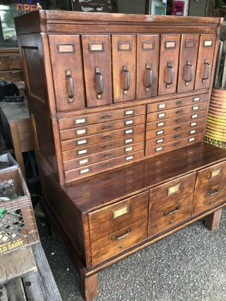 Antique Oak Lawyer Barrister Stacking Bookcase Filing Cabinets