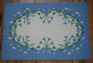Vintage 1920s Marie Webster Morning Glories Crib Quilt Rare In Blue 50x34