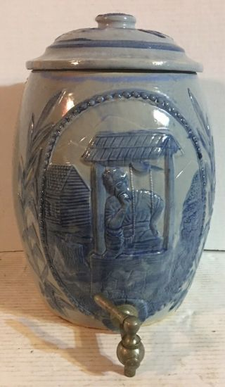 Antique C1915 Robinson Blue Decorated Stoneware Crock Water Cooler