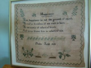 "1825 Phebe Field American Sampler Titled "" Happiness "" Found In Massachusetts"