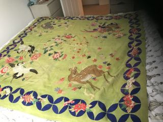 Antique Chinese Silk Embroidered Cloth,  Monkey,  Deer Birds Off Paradise/blossom