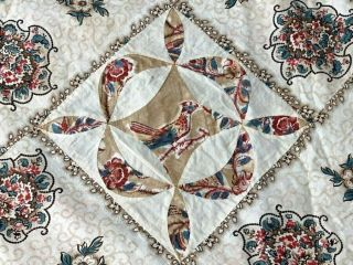 Early C 1830 - 40s Pa Quilt Top Fabric Study Broderie Perse Bird Fabri