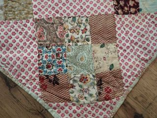 """Early 19th C Antique Pa Fabric Sampler Quilt 106x102 """" Prussian,  Chintz,"""