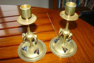 Brass Candlesticks With Agate House Flies - - Scottish Arts And Crafts - -