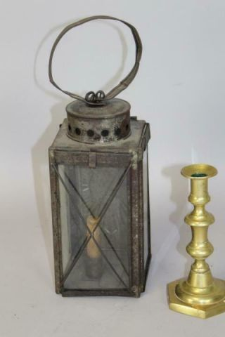 Very Rare 19th C Tin And Glass Hanging Lantern With Embossed Reflector