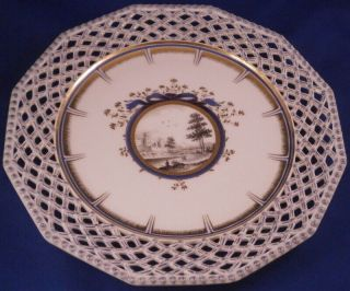 Nymphenburg Porcelain Kings / Pearl Service Reticulated Plate Porzellan Teller