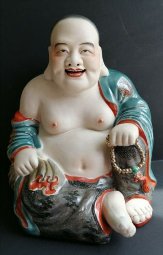 "12 "" Antique Chinese Porcelain Happy Laughing Buddha Famille Rose Enamels Bisque"
