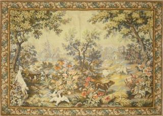 Huge Vintage French Wallhanging Tapestry Verdure & Animals 216cm X 157cm
