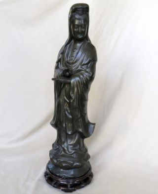 """25.  5 """" Antique ? Chinese Or Japanese Inlaid Bronze Kwan - Yin Statue W/ Wood Stand"""