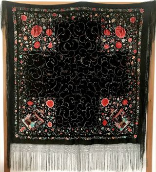 Antique Old Chinese Silk Double Side Hand - Embroidered Figure &floral Piano Shawl