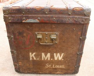 Old Louis Vuitton Steamer Trunk Monogrammed Canvas - Red Tag - Brass Handles 10
