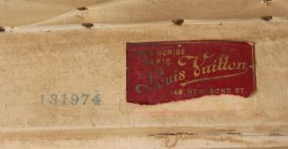 Old Louis Vuitton Steamer Trunk Monogrammed Canvas - Red Tag - Brass Handles 2