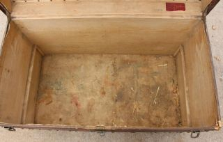 Old Louis Vuitton Steamer Trunk Monogrammed Canvas - Red Tag - Brass Handles 5
