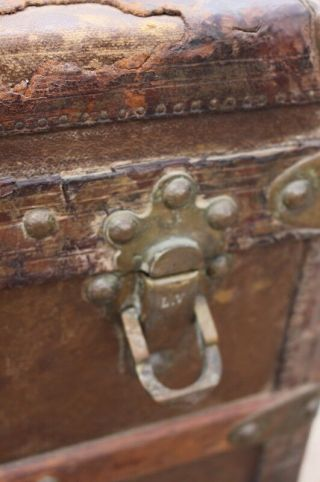 Old Louis Vuitton Steamer Trunk Monogrammed Canvas - Red Tag - Brass Handles 7