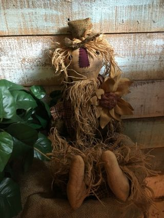 "Primitive Grungy Scarecrow Doll With Sunflowers Fall Halloween 27 "" Handstitched"
