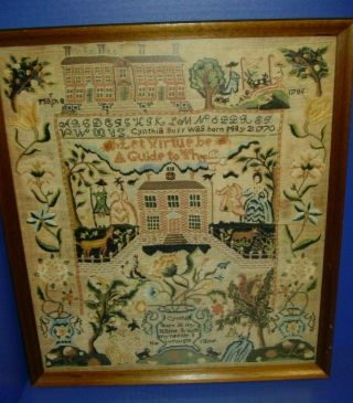 18th Century Sewing Sampler By Cynthia Burr Ca.  1786 Providence,  R.  I.  Print