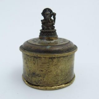 Antique Indian Brass Box And Cover With Figure Of Ganesh On Top,  19th Century