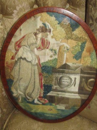 19 Th Century Silk Embroidery Of A Maiden At Shakspears Tomb Inlaid Frame
