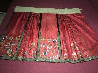 Antique 19thc Chinese Red Silk Damask Hand Embroidered Wedding Skirt