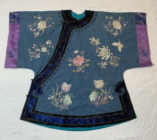 Antique Chinese Silk Embroidered Surcoat Kimono Jacket Robe Moth Flowers Motif