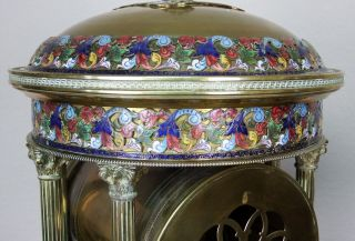 Antique 19th c French Gilt Bronze,  Cloisonne,  Champleve Japy Clock Garniture 10