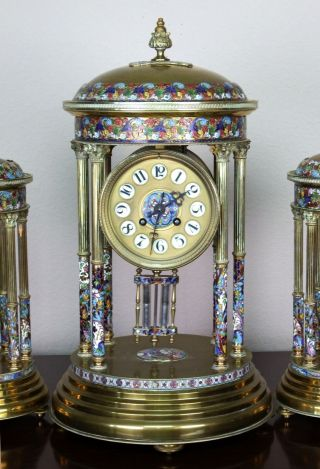 Antique 19th c French Gilt Bronze,  Cloisonne,  Champleve Japy Clock Garniture 2
