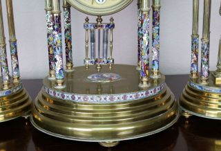 Antique 19th c French Gilt Bronze,  Cloisonne,  Champleve Japy Clock Garniture 3