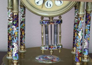 Antique 19th c French Gilt Bronze,  Cloisonne,  Champleve Japy Clock Garniture 5