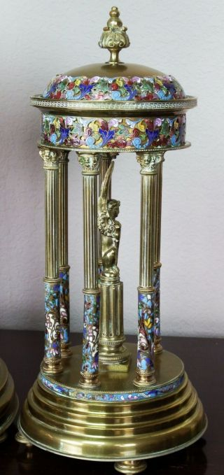 Antique 19th c French Gilt Bronze,  Cloisonne,  Champleve Japy Clock Garniture 9
