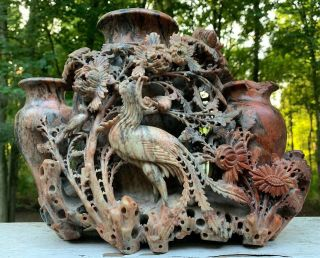 Ultimate Antique Chinese Carved Soapstone Vase 3 Urns With Flowers & Birds Huge