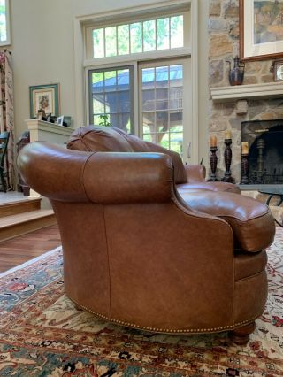 Two Traditional Curved - Back Chestnut Leather Sofas by Hancock & Moore 2